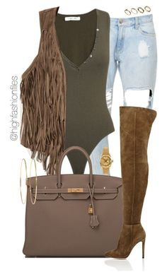 """Warm Fall Day"" by highfashionfiles ❤ liked on Polyvore featuring Torn by Ronny Kobo, Abercrombie & Fitch, Hermès, Gianvito Rossi, Jennifer Meyer Jewelry, Rolex and ASOS"