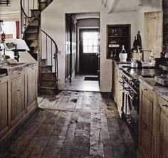 floors and spiral stairs. I want spiral stairs in my house Sweet Home, My Dream Home, Home Kitchens, Rustic Kitchens, Country Kitchens, Kitchen Rustic, Reclaimed Kitchen, Kitchen Decor, Barn Kitchen