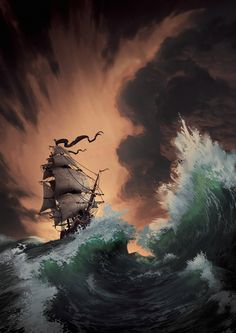 In this period I have an obsession for pirates so I need to do pirates' things! Here a piede done to study waves principally. As always I tryed to use a little brush set because I want to create textures with my mind and not with easy way out. Pirate Art, Pirate Life, Pirate Ships, Fantasy Landscape, Fantasy Art, Benfica Wallpaper, Storm Wallpaper, Sea Storm, Old Sailing Ships