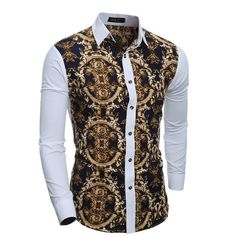 Cheap camisa masculina, Buy Quality chemise fashion directly from China designer chemise Suppliers: 2017 New Fashion Men Slim Turn-Down Collar Print Design Color Patchwork Casual Long-Sleeved Shirt Chemise Camisa Masculina Tribal Shirt, Slim Fit Dress Shirts, Slim Fit Dresses, Chemise Fashion, African Shirts For Men, African Men Fashion, Fashion Men, Printed Shirts, Shirt Style