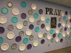 My grade prayer wall. Kids will write prayers on white plastic plates with dry erase markers. I labeled some plates PRAISE:, APOLOGY:,THANKS:, HELP:, to get them started. Sunday School Rooms, Sunday School Classroom, Sunday School Lessons, Sunday School Crafts, Prayer Wall, Prayer Room, Prayer Stations, Prayers For Children, Kids Church