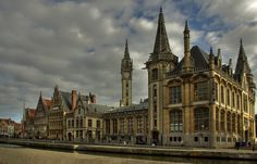 """""""The Graslei and the Koornlei"""" by Béla Török on 500px - Ghent, Belgium:  The Graslei and the Koornlei in Ghent are located at the heart of the city and are actually two adjoining streets along the old harbor of Ghent.  Graslei means the streets of the herbs and vegetables while Koornlei means the streets of wheat.  The name of the streets reveal that the place was once regarded as one of the major trade centers for these items."""