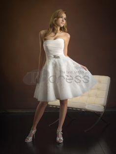 Abiti da Sposa Corti-Senza spalline abiti da sposa corti in chiffon galleggianti