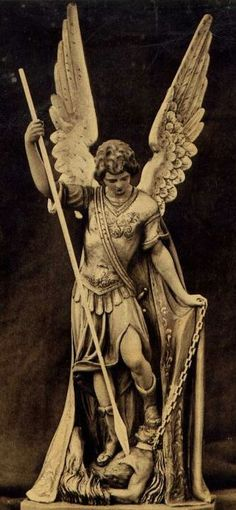 I love how he has Satan on a leash here! Angels Among Us, Angels And Demons, Holy Michael, Archangel Michael Tattoo, Angel Garden Statues, Sculpture Art, Sculptures, Angel Wallpaper, Jesus Painting