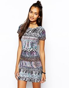 ASOS Mini Bodycon Dress In Multicoloured Print