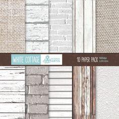 White Cottage: 10 Digital Paper Pack wood bricks от OctopusArtis