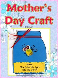 Here is a perfect Mothers Day craft! Cute, quick and easy! And what makes it even better  its a FREEBIE! I make it with my Kindergartners but I think even younger or older students will enjoy it. This shining thumbprint firefly in a jar will put a smile on every Moms face!