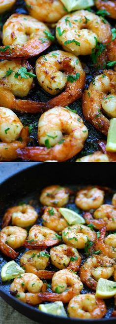 Honey Garlic Shrimp Recipe – easy skillet shrimp with honey garlic sauce with only 4 ingredients.