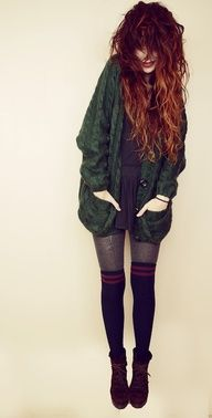 oversized sweater + tights + thigh highs