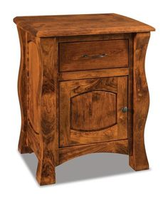 Amish Reno Nightstand with One Drawer and One Door Gorgeous solid wood nightstands, the Reno jazzes things up with its thick posts and ripple effect. Available in choice of wood and stain with great features like a touch night light, pull out water tray and much more. #nightstand #bedroom #bedroomstorage