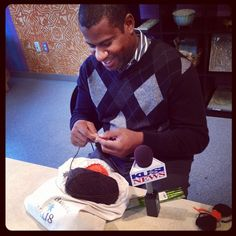 Love it! Local news guy who was here to our prez, Melanie Royals, was knitting bow ties between shoots.