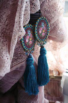 RetroBijou / Folklor Tassel Necklace, Decoupage, Jewellery, Retro, Handmade, Fashion, Souvenir, Moda, Jewels