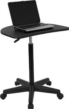 Mobile Stand Up Computer Desk Workstation Cart In Red
