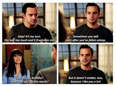 "New Girl ""Where do you get the words?"" Nick sharing his feelings to Jess. Nick Miller, Tv Show Quotes, Movie Quotes, New Girl Nick And Jess, New Girl Funny, New Girl Tv Show, New Girl Quotes, Jessica Day, Parks And Recreation"