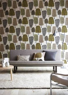 Scion's cedar wallpaper from the Levande collection features naively drawn trees in a trend-inspired neutral palette.