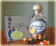 Halloween ensemble created with MFT stamps and dies.     More details here: http://beate.blogs.splitcoaststampers.com/2012/09/23/crafty-friends-challenge-halloween/