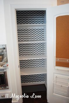 Use inexpensive shelf paper (I found this @homegoods ) to line the back of your pantry to give it a pop of color.  #organization #organizing