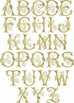 Grape Vines font machine embroidery designs