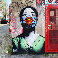 "Artist: Tyler Street Art Amsterdam, The Netherlands. Artist: Fake Fake says to have painted this ""Super Nurse"" as an ode to all healthcare professionals around the world. Murals Street Art, Art Mural, Street Art Graffiti, Wall Art, Art Walls, Arte Banksy, Pop Art, Urbane Kunst, Urban Street Art"