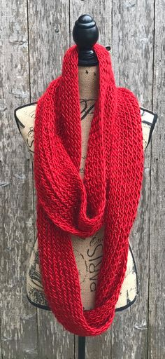 This silky, stretchy, loose knit infinity scarf has endless possibilities to style. The yarn is incredibly soft, but it is still perfect for vegans as it is 100 percent acrylic yarn. The scarf can be double or triple wrapped, as shown in the photos. This ...