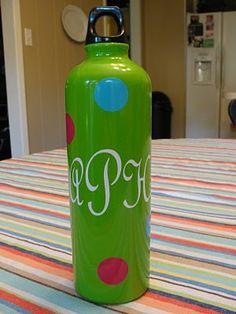 DIY ~~ Dollar Store Metal Water Bottles. Gift Idea