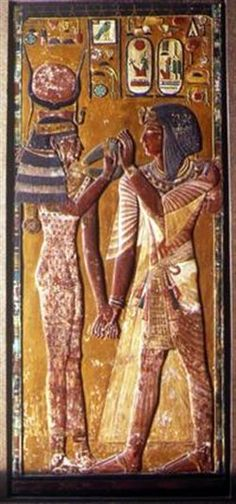 A bas relief showing the Goddess Hathor greeting King Sety I 19th Dynasty Valley of the Kings