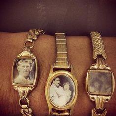 Gebruik oude (kapotte) horloges om dierbare foto's altijd bij je te dragen | Vind meer inspiratie over het afscheid, de uitvaart en het rouwen op http://www.rememberme.nl