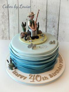 Fisherman Cake - Cake by Louise Jackson Cake Design 40th Birthday Cakes For Men, Fish Cake Birthday, Fancy Cakes, Cute Cakes, Fondant Cakes, Cupcake Cakes, Fisherman Cake, Fire Engine Cake, Grandma Cake