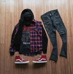 Outfit grid - Hoodie, checks, hi-tops Tomboy Outfits, Swag Outfits, Casual Outfits, Men Casual, Fashion Outfits, Hype Clothing, Mens Clothing Styles, Streetwear Mode, Streetwear Fashion