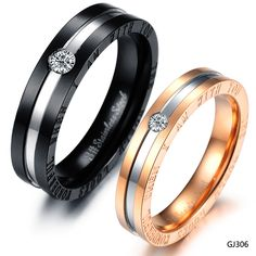 Wholesale Fashion Accessories,Titanium 316L Stainless Steel Couple's CZ Diamond Ring, promise rings for couples, wedding ring(China (Mainland))