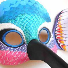 Máscara Antifaz Colibrí Picaflor Pájaro Cuero Disfraz Animal ...