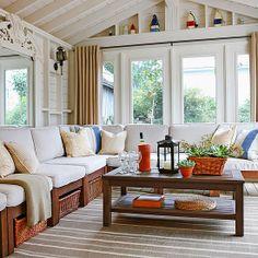 coastal cottage in nova scotia note all the storage under the seats love the sunroom decoratingsunroom ideasporch