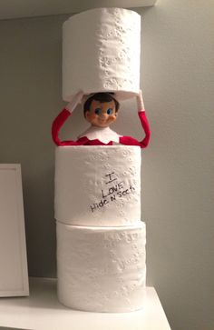 Elf on shelf hide n seek. Could also have him make a snowman out of the toilet paper.