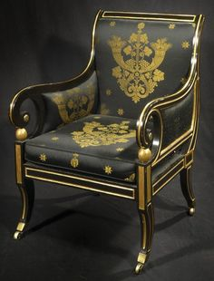 """c1810 A Regency and Parcel-Gilt Bergere CIRCA 1810 Height: 38"""" Width: 25.5"""" Depth: 27"""" Seat H: 18.5"""" Inventory Number 7567-368 PRICE$38,000"""