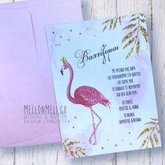 """Προσκλητήριο Βάπτισης """"Φλαμίνγκο"""" Flamingo, Books, Wedding, Design, Art, Flamingo Bird, Valentines Day Weddings, Art Background, Libros"""