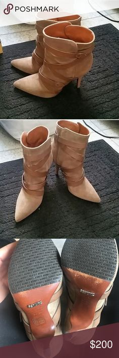 "Tan suede Schutz pointed toe ankle boot These shoes are so beautiful! Only worn about twice. Look brand new. Have too many shoes so trying to downsize my closet. Sad to see these go. These are truly a staple item in anyone's closet. Leather and suede. About 3.5"" heel. SCHUTZ Shoes Ankle Boots & Booties"