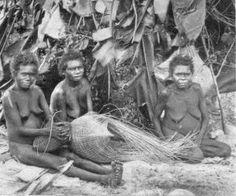 Photo of aboriginal women making baskets outside their hut
