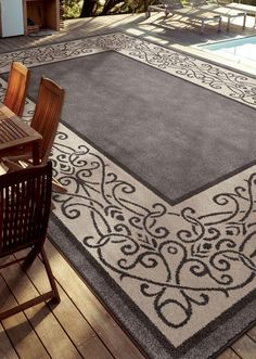 """Treat outdoor living to the same comfortable, tranquil atmosphere that is inside your home with our new, 7' 5"""" x 10' Easy Living Indoor/Outdoor area rugs."""