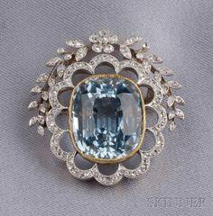 Edwardian Aquamarine and Diamond Brooch, | Sale Number 2487, Lot Number 504 | Skinner Auctioneers