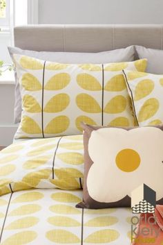 Buy Set Of 2 Orla Kiely Scribble Soft Lemon Yellow Housewife Pillowcases from the Next UK online shop