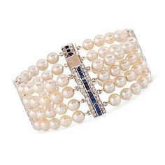 """C. 1960 Vintage Cultured Pearl Bracelet With 1.50 ct. t.w. Diamonds and 2.00 ct. t.w. Sapphires In Platinum. 7.5"""""""