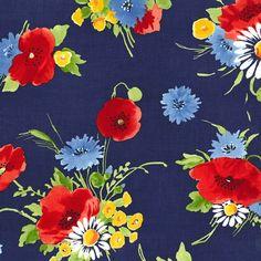 pc6795 bette's bouquet vintage florals florals flowers printed cotton couture spring retro blooms petals leaves garden navy blue