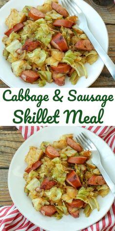 This Cabbage and Sausage Skillet is a keeper! Tasty Food is part of Cabbage and sausage - This Cabbage and Sausage Skillet is a keeper! Happy Cooking , In the food recipe that you read this time wit Smoked Sausage Recipes, Pork Recipes, Cooking Recipes, Healthy Recipes, Fried Cabbage Recipes, Smoked Sausages, Sausage Recipes For Dinner, Kilbasa Sausage Recipes, Polish Sausage Recipes