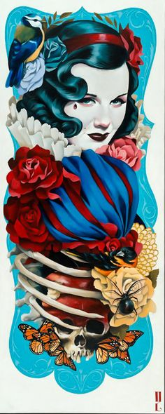 GUSTAVO RIMADA, IS PROUD OF HIS MEXICAN HERITAGE, COMBINING ELEMENTS OF TRADITIONAL TATTOO DESIGN, VINTAGE GLAMOUR PICTURES WITH TRADITIONAL MEXICAN THEMES.