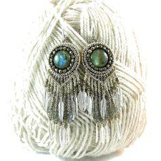 Long elven style earrings  bead embroidery  by Taurielscraft, $79.00
