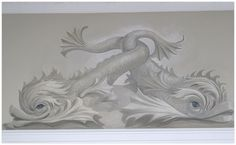 Mural Painting Entwined Dolphins