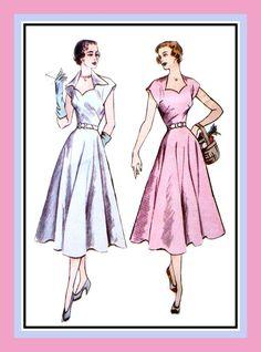 1950-HERZFÖRMIGER Ausschnitt Kleid nähen von FarfallaDesignStudio