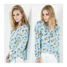 Camisa Estampa Birds ▪ Beija-flor | Shoulder ♡   ••••• 》》Whatsapp 43 9148-2241  ☎  43 3254-5125.    Rua Rio Grande do Norte, 19 Centro - Cambé-Pr  #venhaseapaixonar #fashionistando #carolcamilamodas #news #Verão16 #estampas #modaparameninas #trabalharcomestilo #style #fashion #bird #pattern #estampaholic