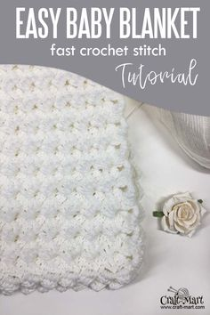 Easy Crochet Baby Blanket (White Waves) – Craft-Mart Easy crochet baby blanket – free pattern for beginners; with our step-by-step instructions and video tutorial you can learn this easy crochet blanket stitch and quickly crochet this baby blanket. Crochet Baby Blanket Tutorial, Crochet Stitches For Blankets, Crochet Baby Blanket Free Pattern, Crochet Stitches For Beginners, Easy Baby Blanket, Crocheted Baby Blankets, Quick Crochet Blanket, Boys Knitting Patterns Free, Crochet Baby Shawl