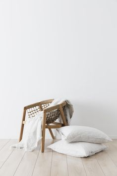 Blue stripe bedding, lightweight and breathable to enhance relaxation and rest. Striped Bedding, Linen Bedding, Woven Chair, Interior And Exterior, Interior Design, Cottages By The Sea, Beds Online, White Furniture, Duvet Sets